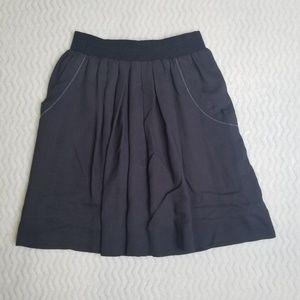 LEIFSDOTTIR Anthropologie Gray Pleated Skirt sz M